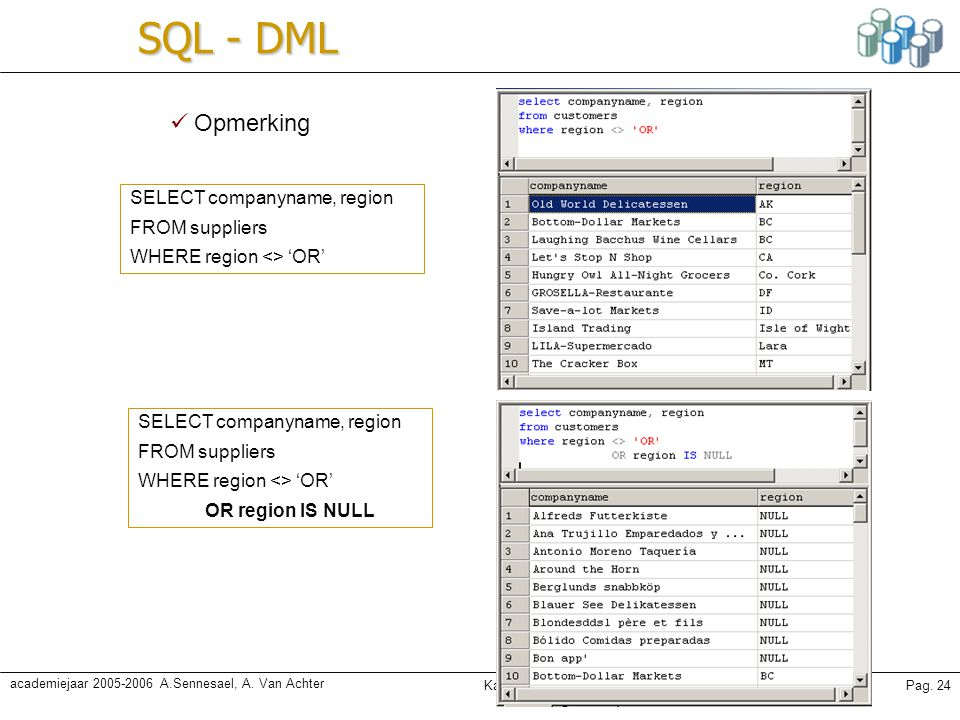 SQL - DML Opmerking SELECT companyname, region FROM suppliers