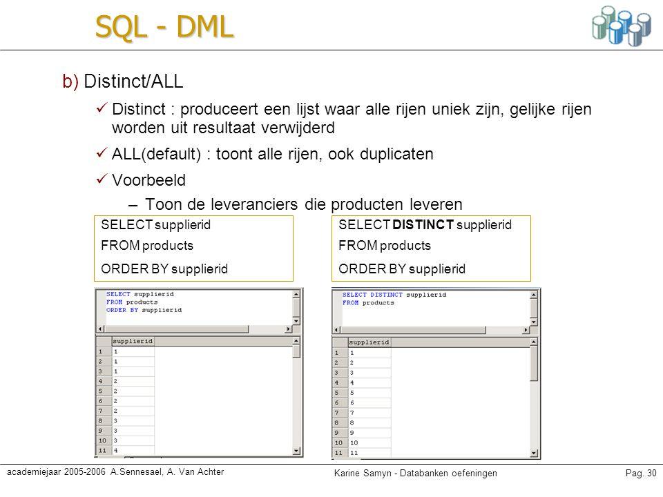 SQL - DML b) Distinct/ALL