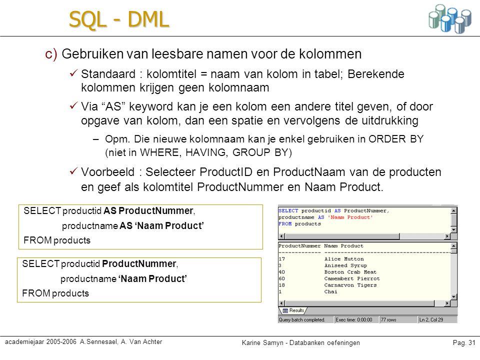 SQL - DML c) Gebruiken van leesbare namen voor de kolommen