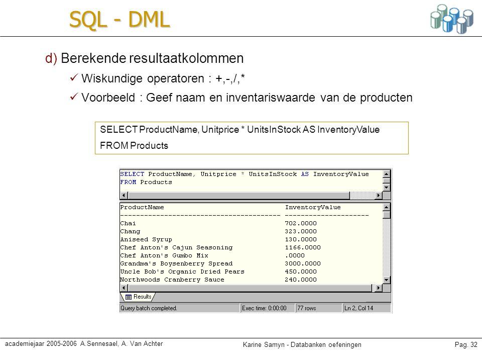 SQL - DML d) Berekende resultaatkolommen