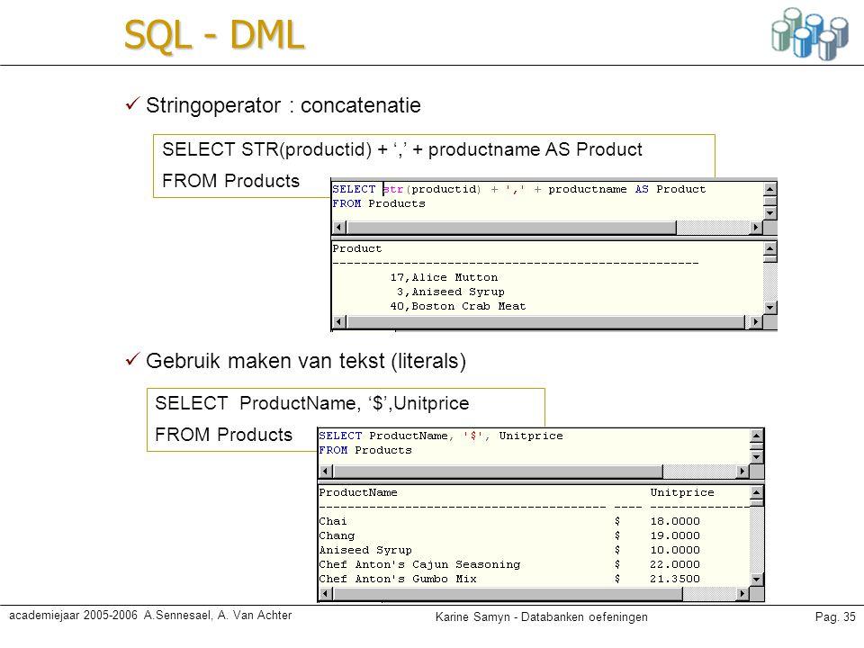 SQL - DML Stringoperator : concatenatie