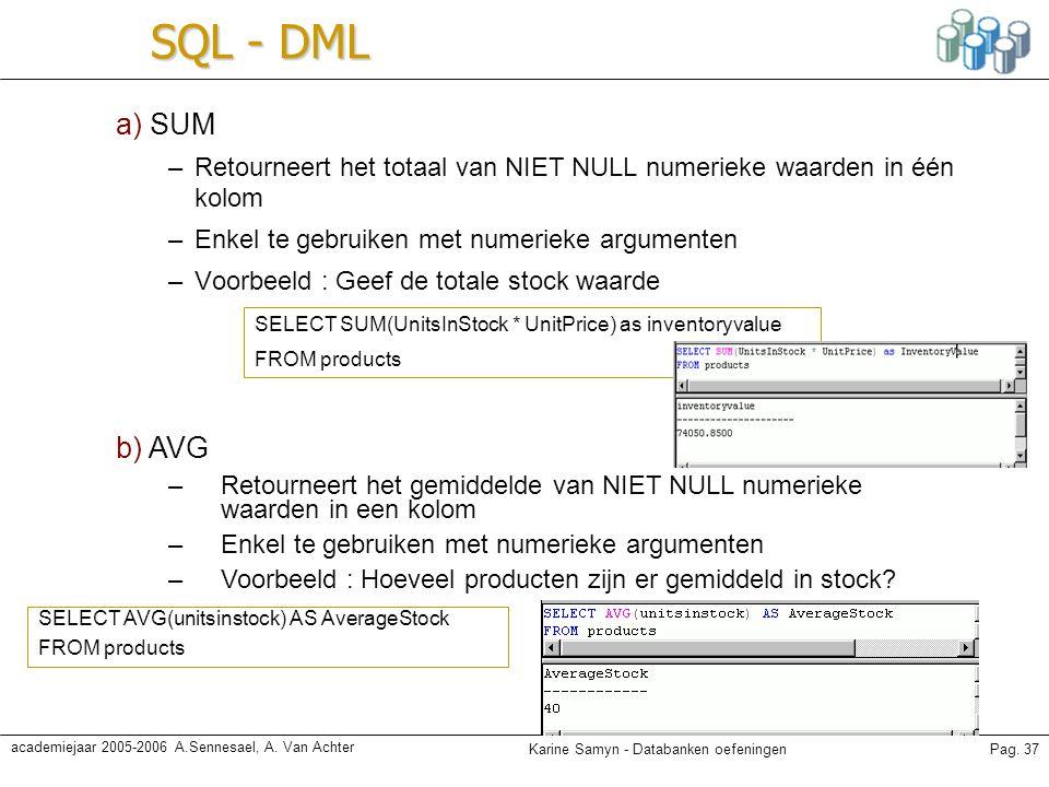 SQL - DML a) SUM. Retourneert het totaal van NIET NULL numerieke waarden in één kolom. Enkel te gebruiken met numerieke argumenten.