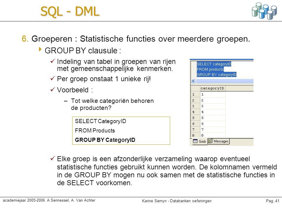 SQL - DML 6. Groeperen : Statistische functies over meerdere groepen.