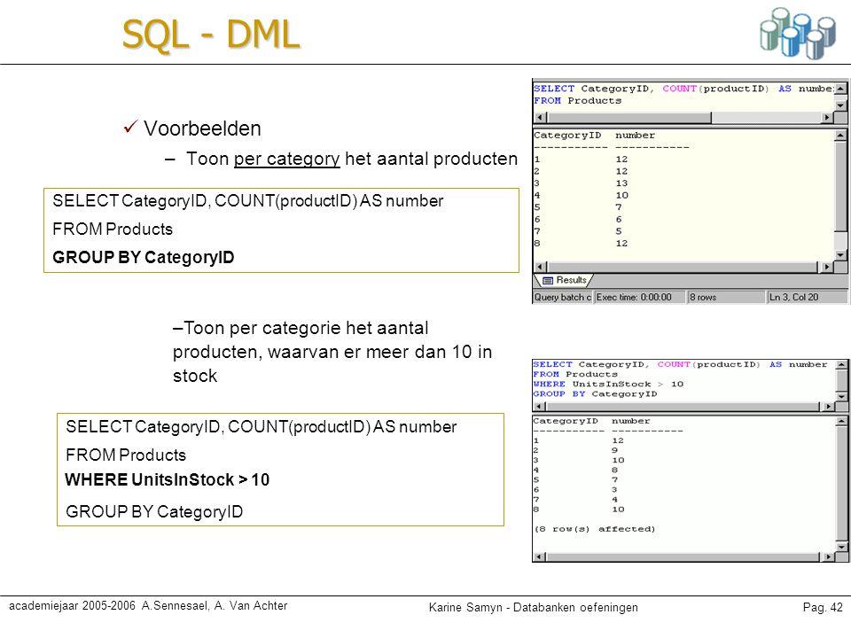 SQL - DML Voorbeelden Toon per category het aantal producten