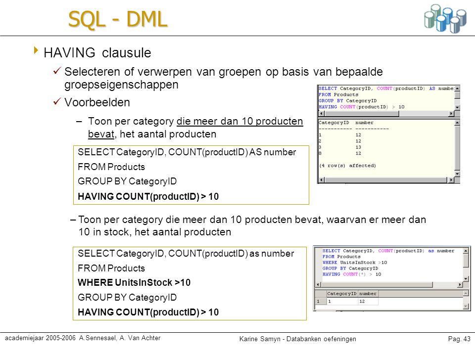 SQL - DML HAVING clausule