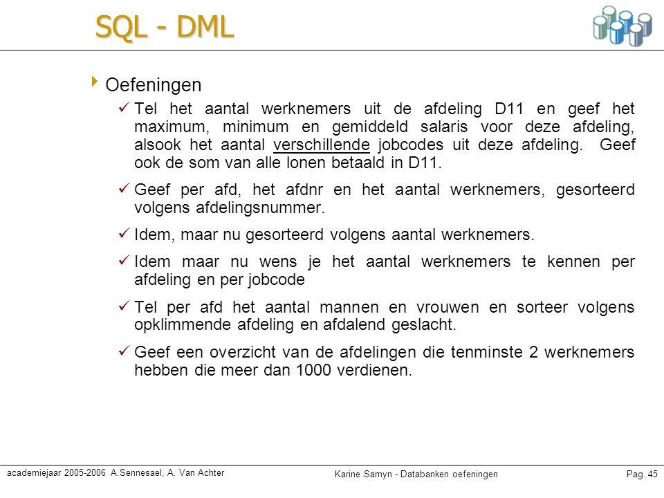 SQL - DML Oefeningen.
