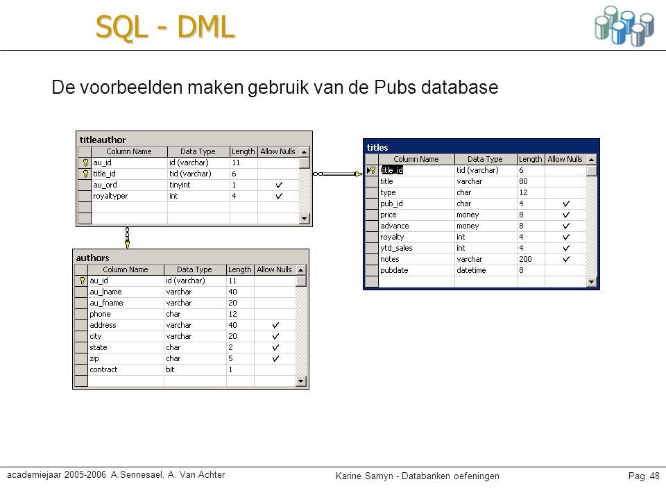 SQL - DML De voorbeelden maken gebruik van de Pubs database