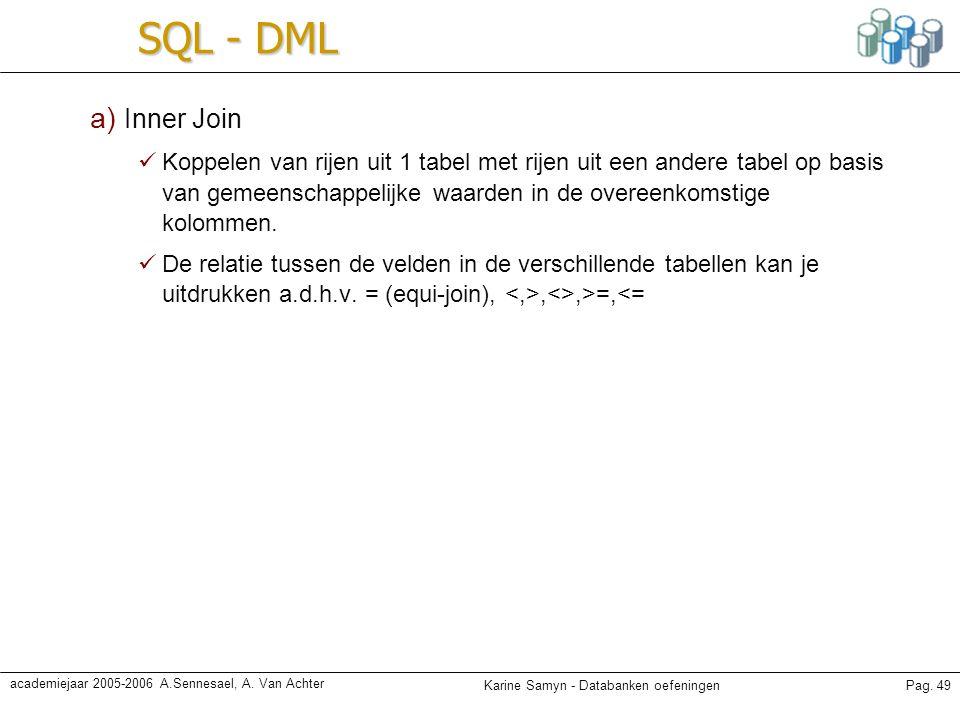 SQL - DML a) Inner Join.