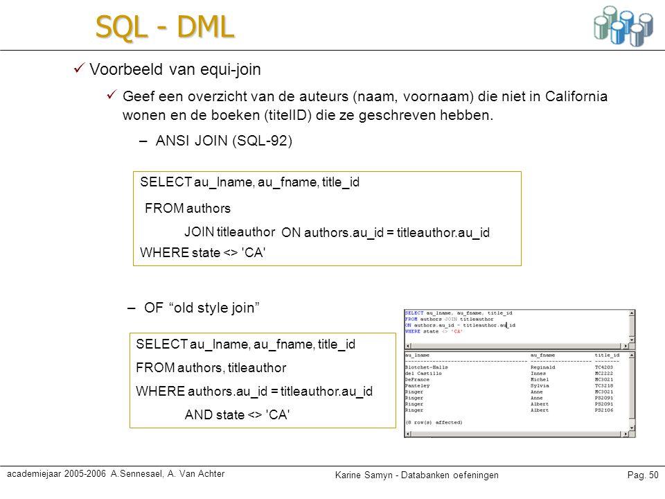SQL - DML Voorbeeld van equi-join