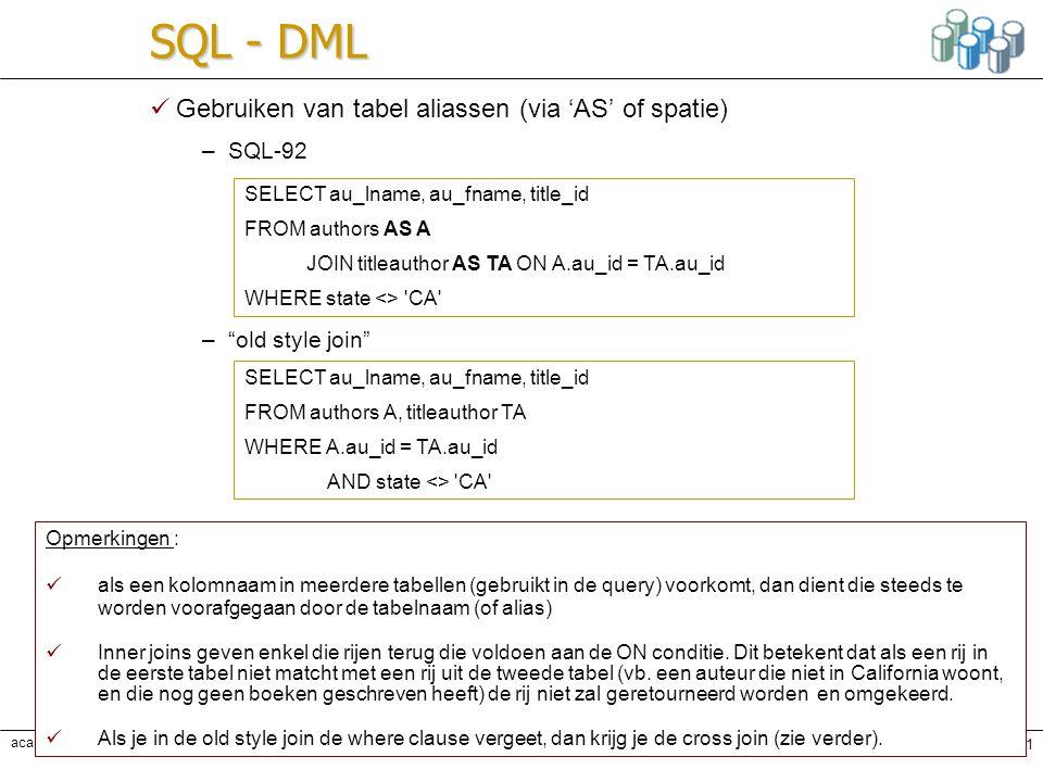 SQL - DML Gebruiken van tabel aliassen (via 'AS' of spatie) SQL-92