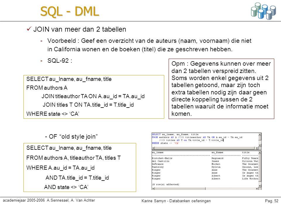 SQL - DML JOIN van meer dan 2 tabellen