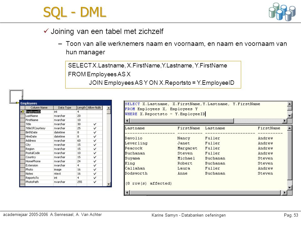 SQL - DML Joining van een tabel met zichzelf