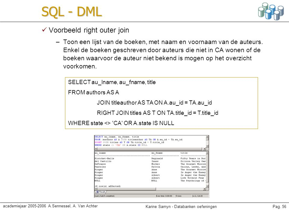 SQL - DML Voorbeeld right outer join