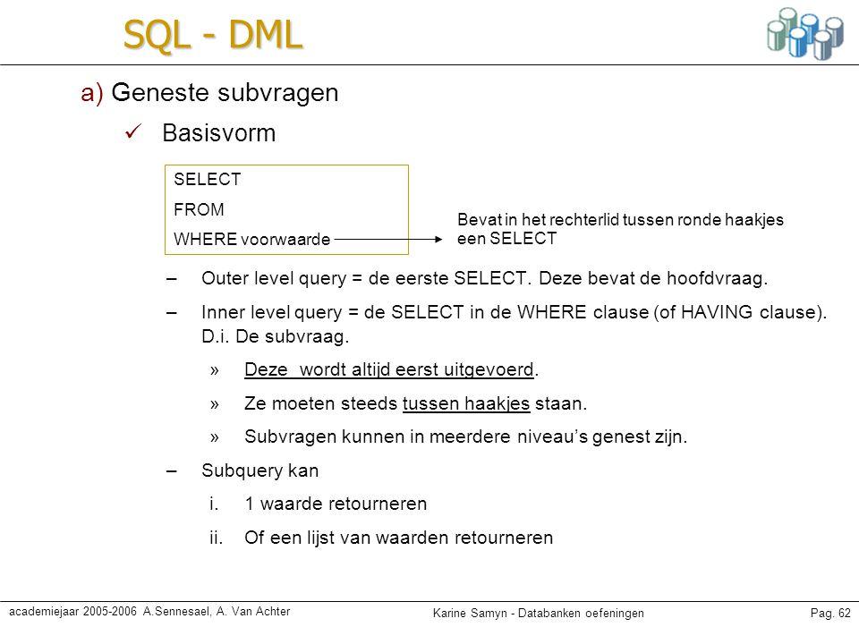 SQL - DML a) Geneste subvragen Basisvorm