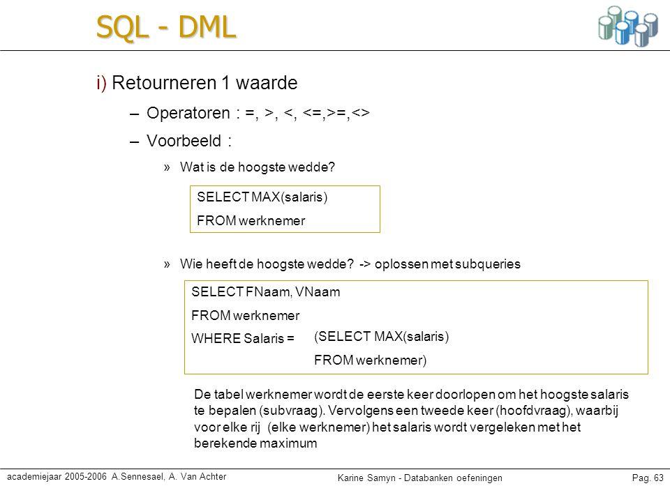 SQL - DML i) Retourneren 1 waarde