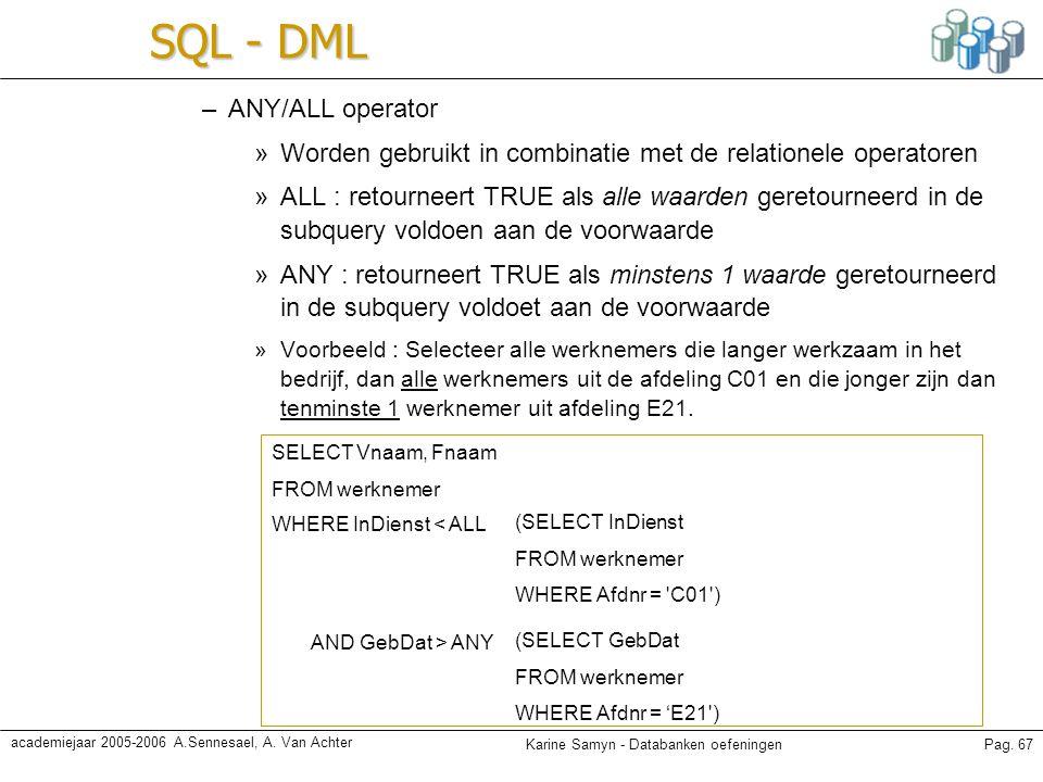SQL - DML ANY/ALL operator