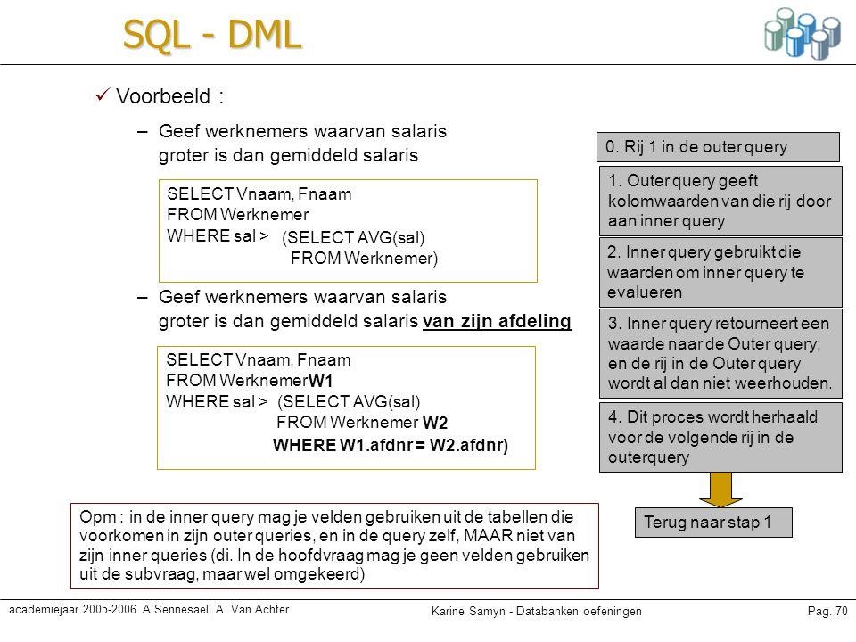 SQL - DML Voorbeeld : Geef werknemers waarvan salaris groter is dan gemiddeld salaris. 0. Rij 1 in de outer query.