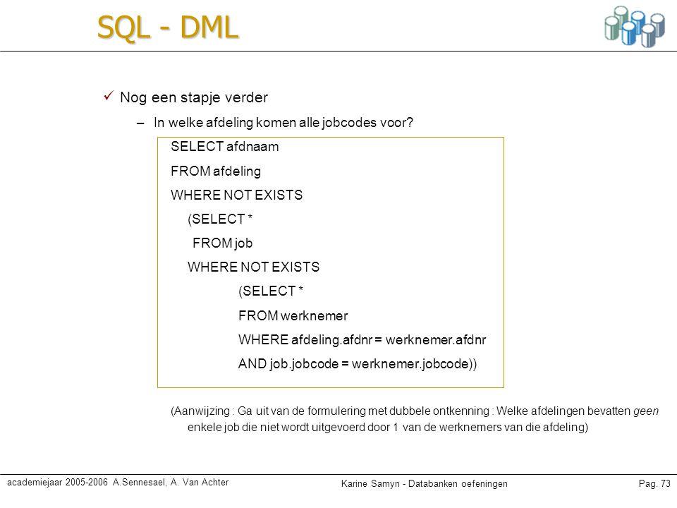 SQL - DML Nog een stapje verder