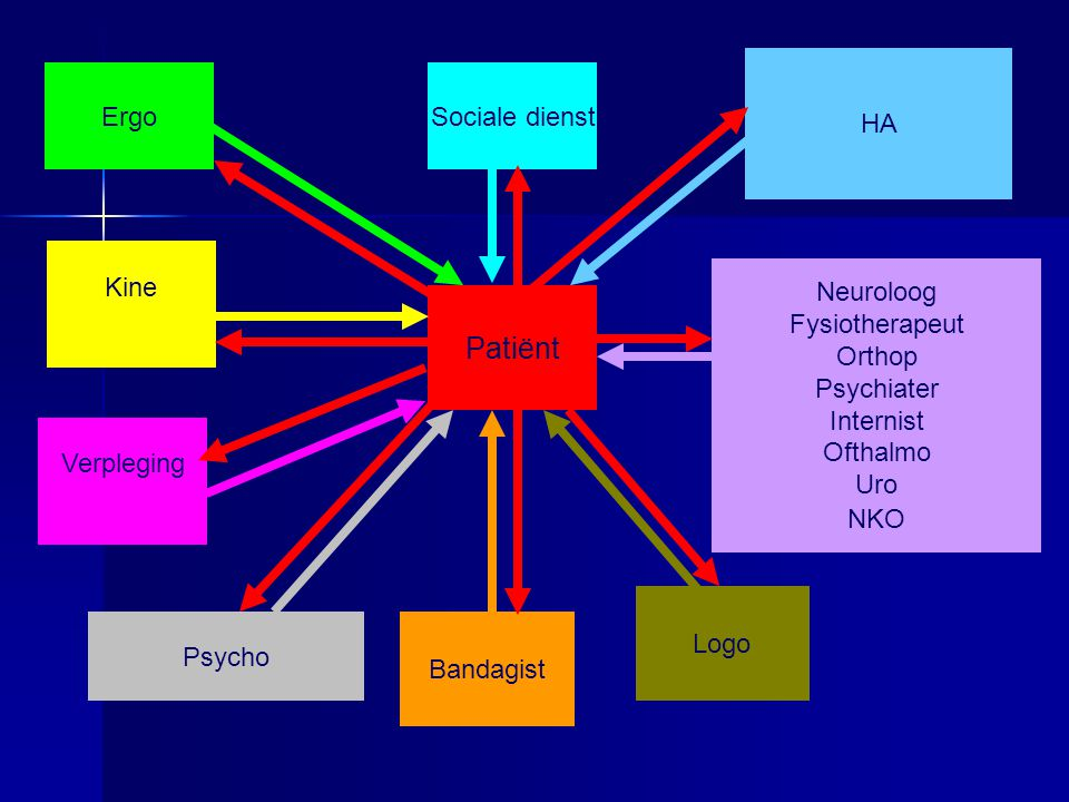 Patiënt HA Ergo Sociale dienst Kine Neuroloog Fysiotherapeut Orthop