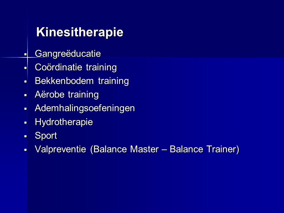 Kinesitherapie Gangreëducatie Coördinatie training