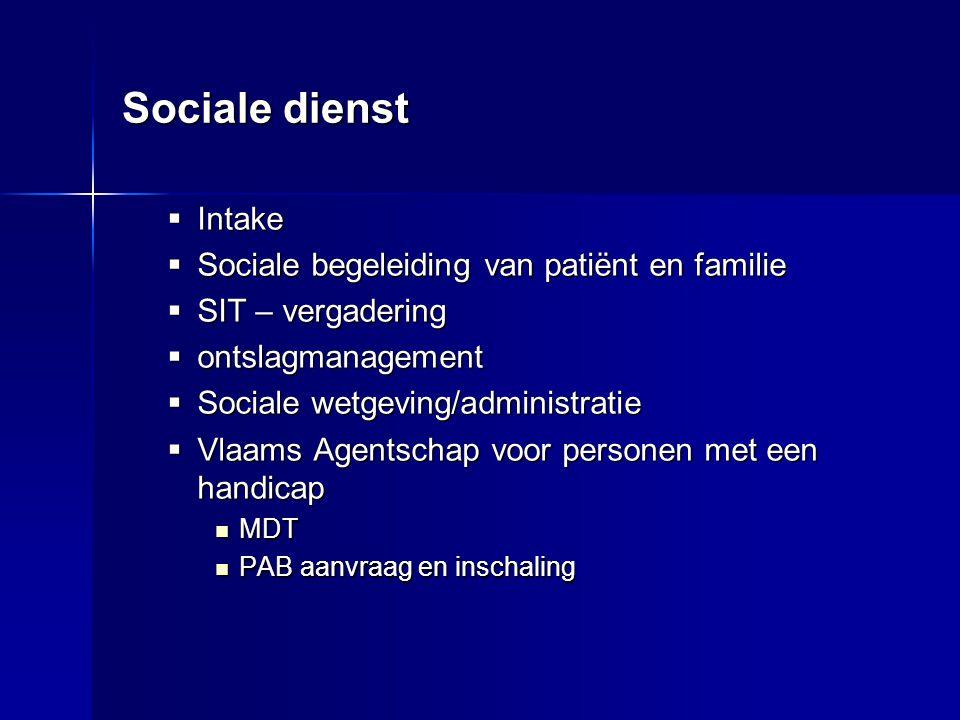 Sociale dienst Intake Sociale begeleiding van patiënt en familie
