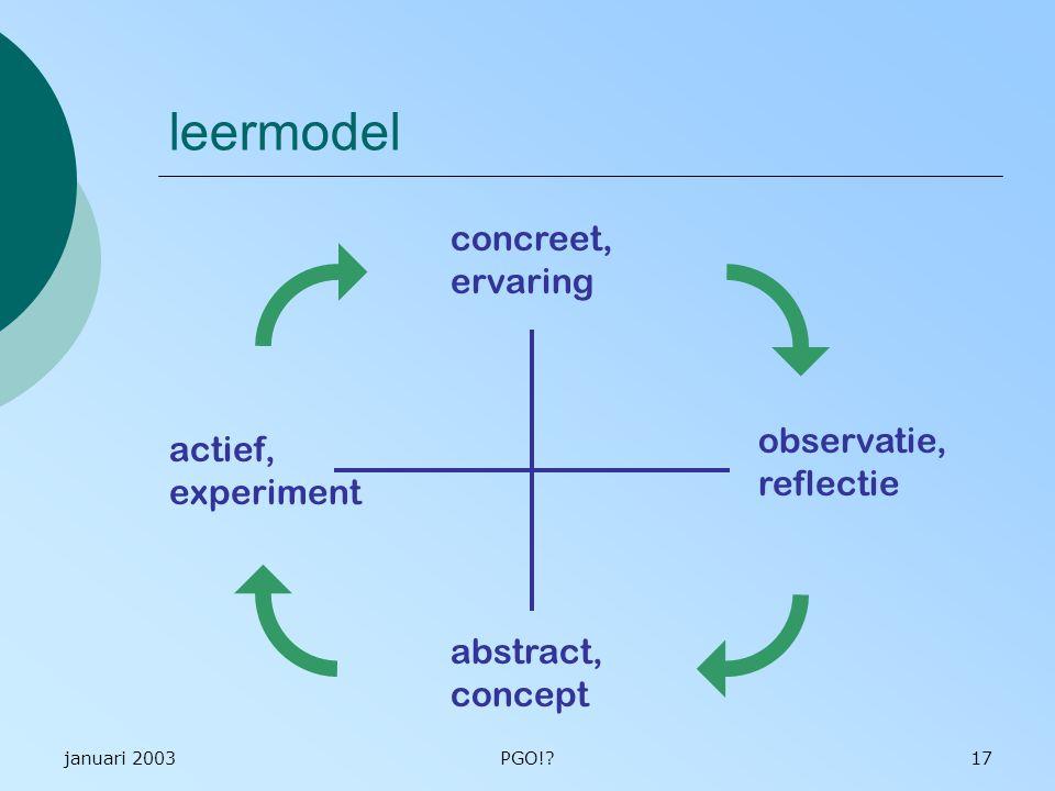 leermodel concreet, ervaring observatie, actief, reflectie experiment