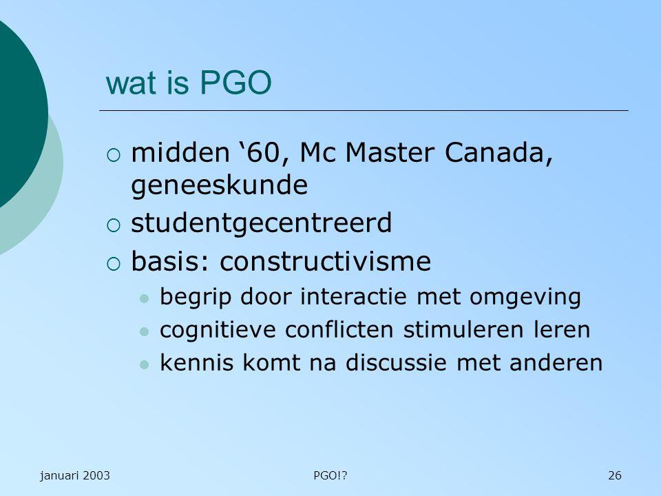 wat is PGO midden '60, Mc Master Canada, geneeskunde