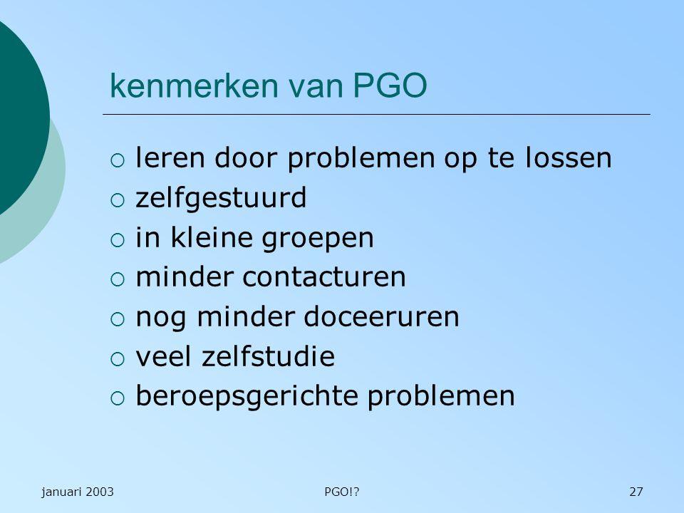 kenmerken van PGO leren door problemen op te lossen zelfgestuurd