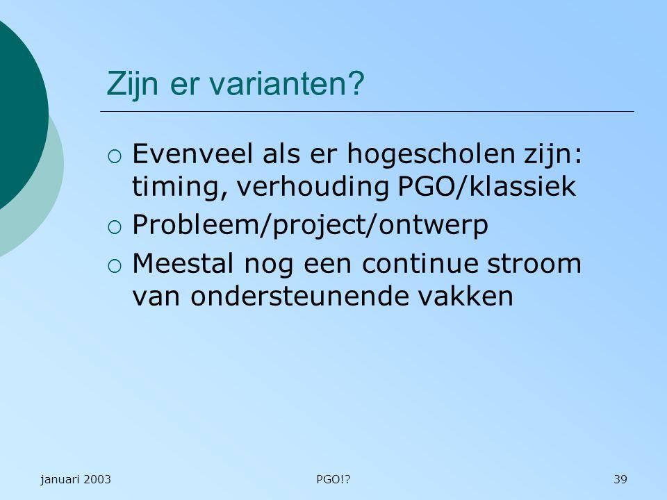 Zijn er varianten Evenveel als er hogescholen zijn: timing, verhouding PGO/klassiek. Probleem/project/ontwerp.