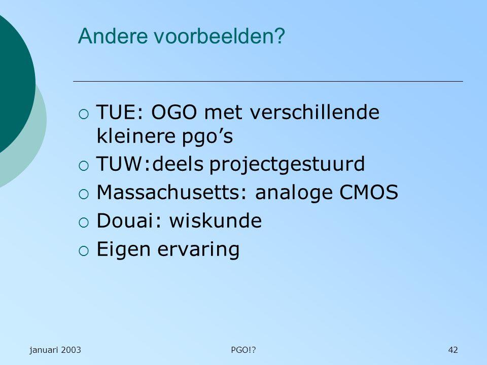 Andere voorbeelden TUE: OGO met verschillende kleinere pgo's