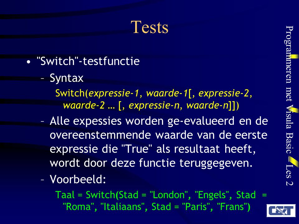 Tests Switch -testfunctie Syntax