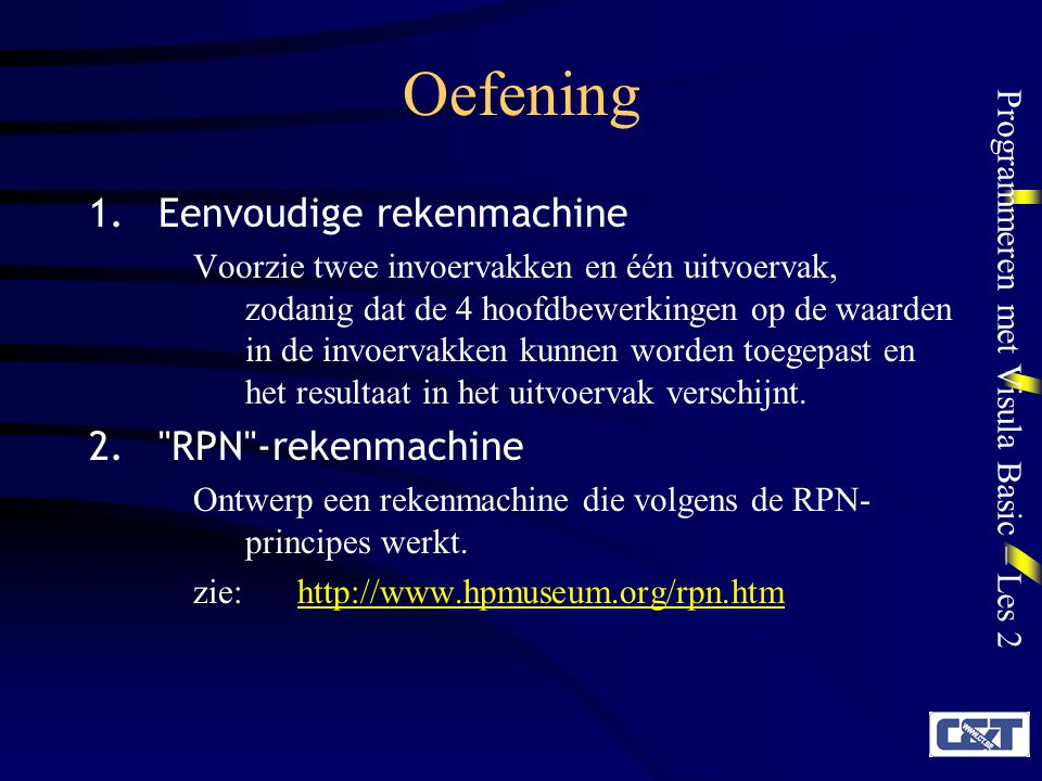 Oefening Eenvoudige rekenmachine RPN -rekenmachine