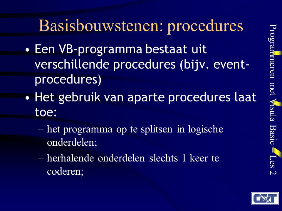 Basisbouwstenen: procedures