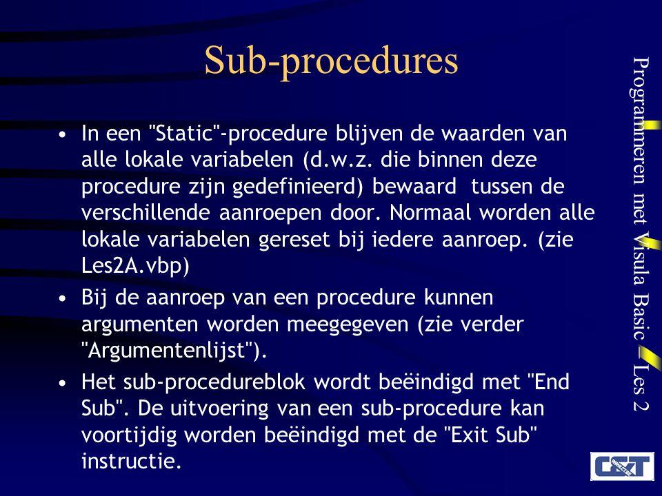 Sub-procedures
