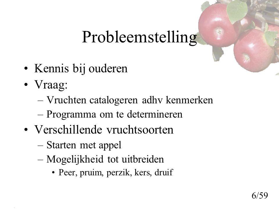 Probleemstelling Kennis bij ouderen Vraag: Verschillende vruchtsoorten