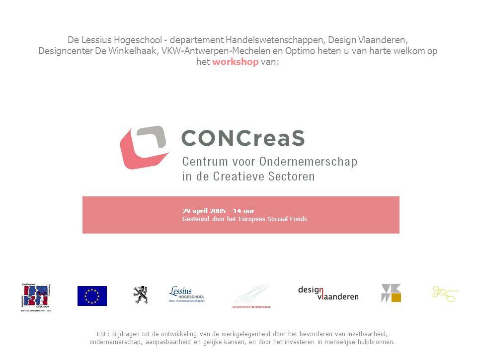 De Lessius Hogeschool - departement Handelswetenschappen, Design Vlaanderen, Designcenter De Winkelhaak, VKW-Antwerpen-Mechelen en Optimo heten u van harte welkom op het workshop van: