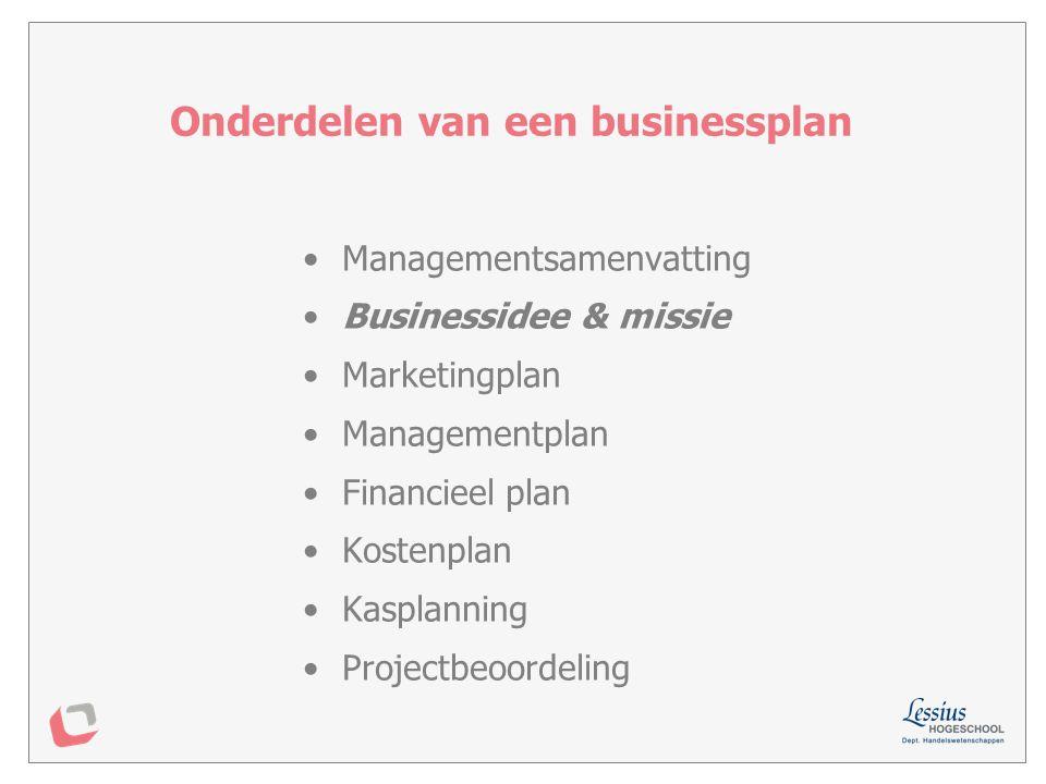 Onderdelen van een businessplan