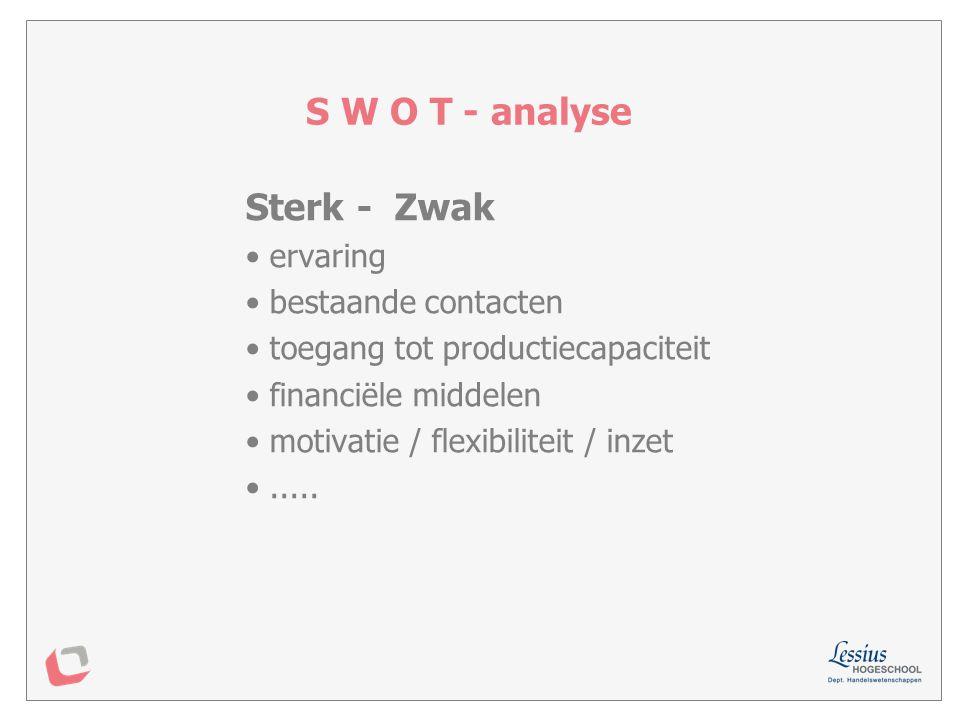 S W O T - analyse Sterk - Zwak ervaring bestaande contacten