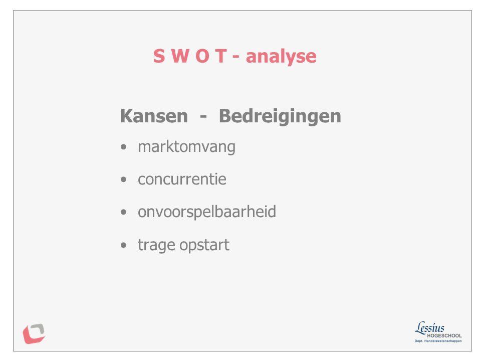 S W O T - analyse Kansen - Bedreigingen marktomvang concurrentie
