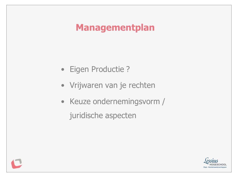 Managementplan Eigen Productie Vrijwaren van je rechten