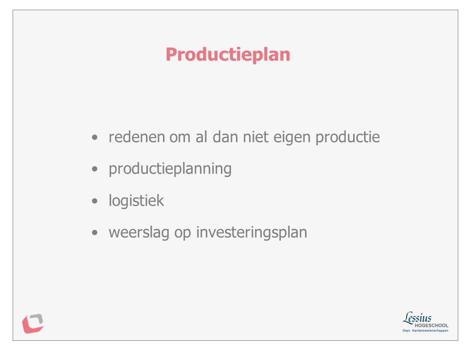 Productieplan redenen om al dan niet eigen productie productieplanning