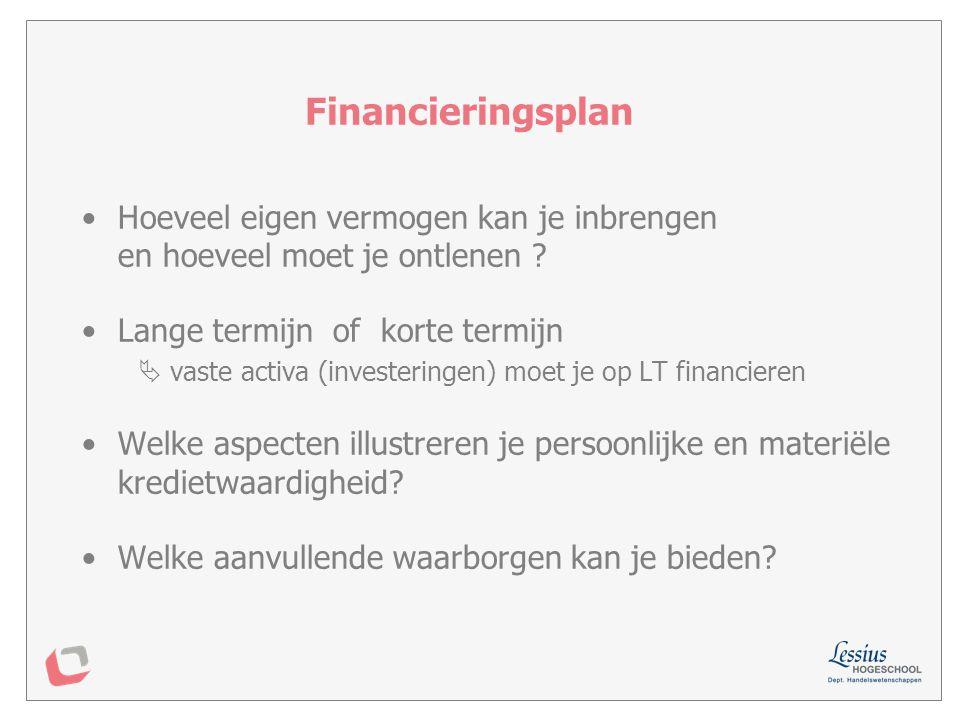 Financieringsplan Hoeveel eigen vermogen kan je inbrengen en hoeveel moet je ontlenen