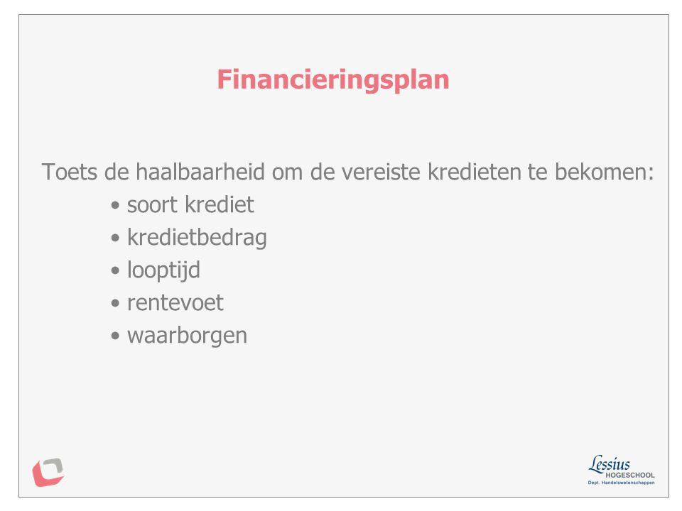 Financieringsplan Toets de haalbaarheid om de vereiste kredieten te bekomen: soort krediet. kredietbedrag.