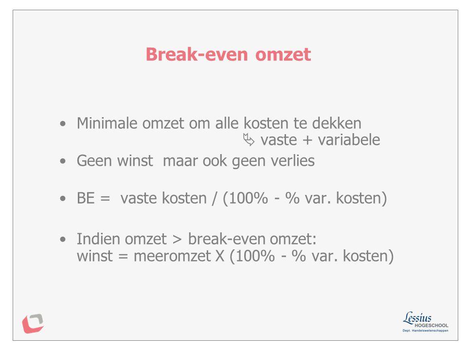 Break-even omzet Minimale omzet om alle kosten te dekken  vaste + variabele.
