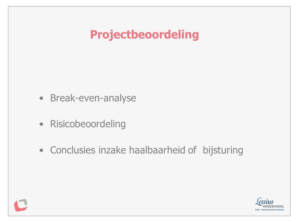 Projectbeoordeling Break-even-analyse Risicobeoordeling