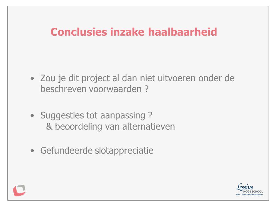 Conclusies inzake haalbaarheid