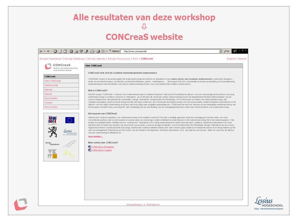 Alle resultaten van deze workshop  CONCreaS website