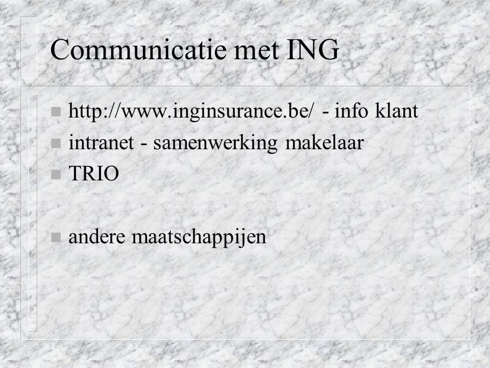 Communicatie met ING http://www.inginsurance.be/ - info klant