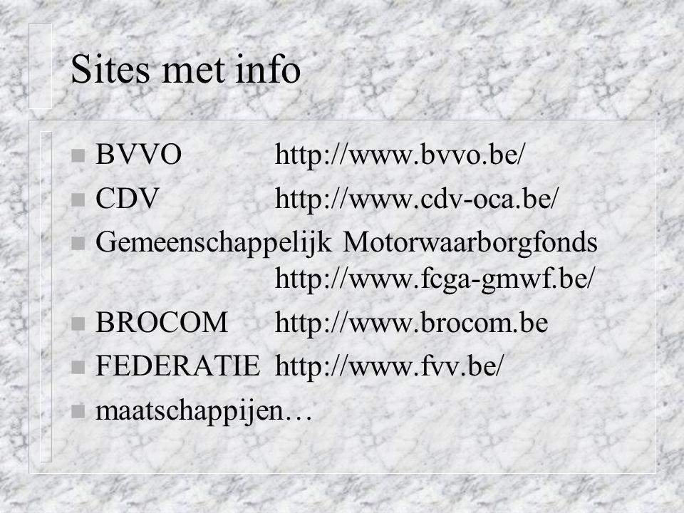 Sites met info BVVO http://www.bvvo.be/ CDV http://www.cdv-oca.be/
