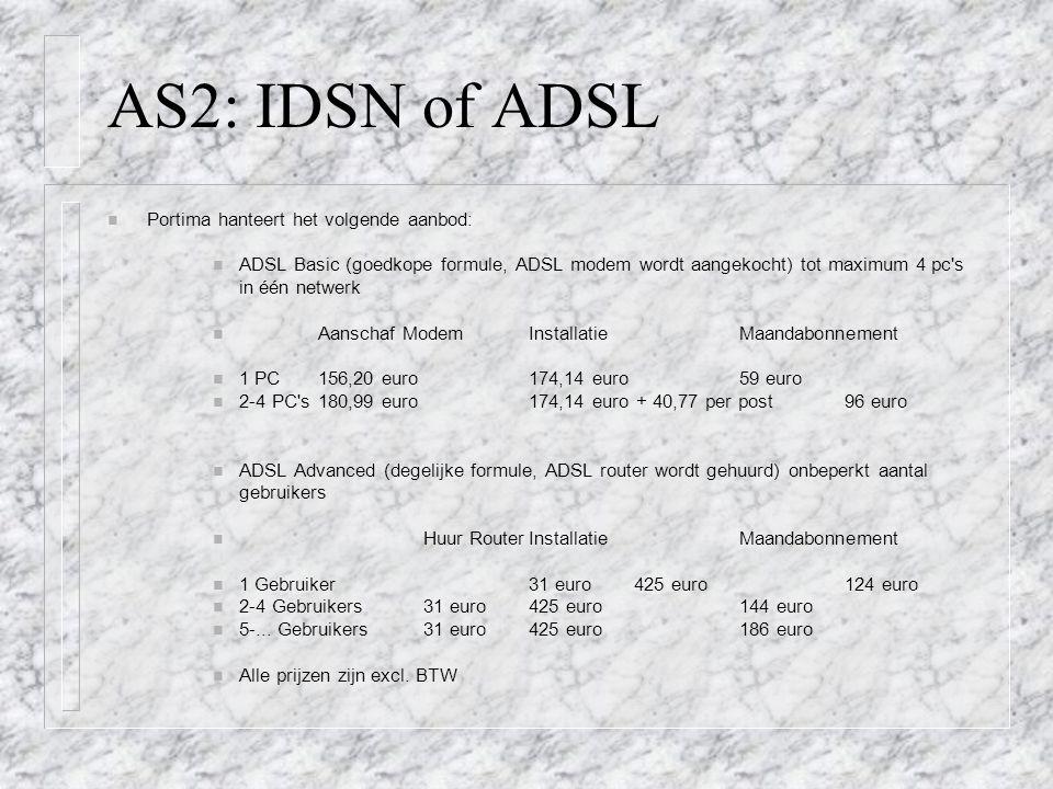 AS2: IDSN of ADSL Portima hanteert het volgende aanbod: